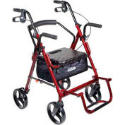 "Drive Medical 795BU Duet Transport Wheelchair Chair Rollator Walker, Burgundy, 8"" Casters"