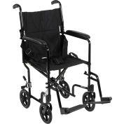 """Lightweight Aluminum Transport Wheelchair, Black Frame, 19"""" Seat Width"""