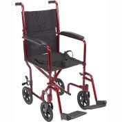 """Lightweight Aluminum Transport Wheelchair, Red Frame, 19"""" Seat Width"""