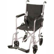 """Lightweight Aluminum Transport Wheelchair, Silver Frame, 19"""" Seat Width"""
