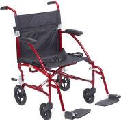 Fly-Lite Aluminum Transport Chair, Burgundy Frame, Black Upholstery