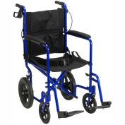 Lightweight Expedition Aluminum Transport Chair with Seat Belt, Blue Frame