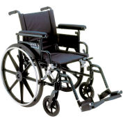 "22"" Viper Plus GT Wheelchair, Flip Back & Detachable Adj. Height Full Arm, Swing-Away Footrests"