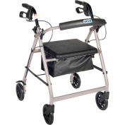 "Aluminum Rollator with 6"" Casters, Fold Up and Removable Back Support, Padded Seat, Silver"