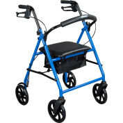 "Drive Medical R900BL Steel Rollator Rolling Walker with 7.5"" Wheels, Blue"
