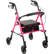 Drive Medical RTL10261BC Breast Cancer Awareness Adjustable Height Rollator, Pink
