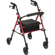 "Drive Medical Adjustable Height Rollator with 6"" Casters, Red"