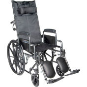 "20"" Silver Sport Full-Reclining Wheelchair, Detachable Desk Arms, Elevating Legrests"