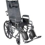 "20"" Silver Sport Full-Reclining Wheelchair, Detachable Desk Arms, Elevating Legrests"