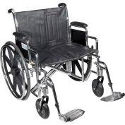 "20"" Sentra Extra Heavy Duty Wheelchair, Detachable & Adj. Height Full Arm, Swing-away Footrests"