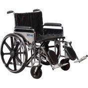 "22"" Sentra Extra Heavy Duty Wheelchair, Detachable & Adj. Height Desk Arm, Swing-away Footrests"