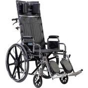 "22"" Sentra Full Reclining Wheelchair, Detachable Desk Arms, Elevating Legrests"