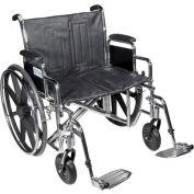 "24"" Sentra Extra Heavy Duty Wheelchair, Detachable & Adj. Height Desk Arm, Swing-away Footrests"