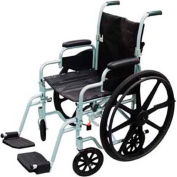 """Poly-Fly High Strength Lightweight Wheelchair/Transport Chair Combo, 16""""W Seat, Silver Frame"""