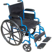 "16"" Blue Streak Wheelchair, Flip Back Desk Arms, Swing-away Footrests"