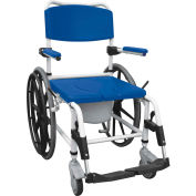 Drive Medical Shower Commode Wheelchair NRS185006, Aluminum, Blue