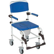 Drive Medical Shower Commode Transport Chair NRS185007, Aluminum, Blue