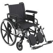 "18"" Viper Plus GT Wheelchair, Flip Back & Detachable Adj. Height Full Arm, Elevating Legrests"