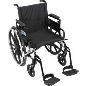 "20"" Viper Plus GT Wheelchair, Flip Back & Detachable Adj. Height Desk Arm, Swing-Away Footrests"