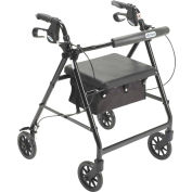 """Aluminum Rollator with 6"""" Casters, Fold Up and Removable Back Support, Padded Seat, Black"""