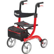 Drive Medical 4-Wheel Nitro Rollator RTL10266, Euro Style, Aluminum, Red