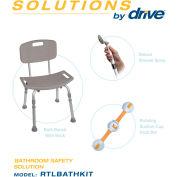 Drive Medical Bathroom Safety Solution RTLBATHKIT, W/Grab Bar, Shower Spray, Bath Bench