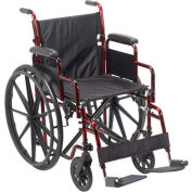 "Rebel Wheelchair, 18""W Seat, Removable Desk Arms, Swing-away Footrests, Red Frame"