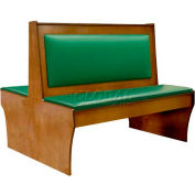 "DM Seating - 42""H Double Wood Booth, DBD42-CW-W-GREENPAD, Walnut With Green Pad"