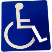 "Door Decal - Handicap Accessible, 4"" x 4"", White On Blue - Pkg Qty 10"