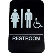 "Don Jo HS 9060 32 - Women's/Men's Handicap ADA Sign, 6"" x 9"", Brown With Raised White Lettering - Pkg Qty 10"