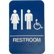"""Don Jo HS 9070 32 - Women's/Men's/Handicap ADA Sign, 6"""" x 9"""", Blue With Raised White Lettering - Pkg Qty 10"""