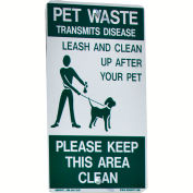 "DOGIPOT® Pet Sign, On Leash, 18"" x 11-1/2"", Aluminum, Reflective"