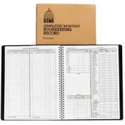 "Dome® Monthly Bookkeeping Record, 8-3/4"" x 11-1/4"", White, Tan Cover"