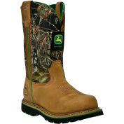 John Deere JD4348 Men's Tan & Mossy Oak Steel Toe Pull On Leather Boots, Size 9.5 W