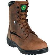 John Deere JD8601 Men's Brown Crazy Horse Met Guard Waterproof Lace Up Leather Boots, Size 10.5 M