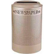 Rubbermaid® Silhouette DRR24P Recycling Receptacle w/Newspaper Opening, 26 Gal - Desert Pearl