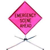 "Dicke Safety Fold & Roll 36"" Sign System, EMERGENCY SCENE AHEAD, DF3000X36PNK ESA"