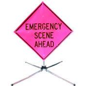 """Dicke Safety Fold & Roll 48"""" Sign System, EMERGENCY SCENE AHEAD, DF3003X48PNK ESA"""