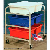 """DC Tech Side by Side Six Tote Cart DL101010, Knock Down, Stainless Steel, 34""""L x 28""""W x 39-1/2""""H"""