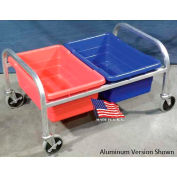 """DC Tech Side by Side Dual Tote Cart DL101034, Fully Welded, Stainless Steel , 34""""L x 24""""W x 20""""H"""