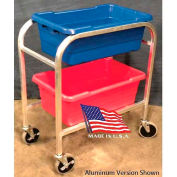 "DC Tech Dual Tote Cart DL101039, Fully Welded, Stainless Steel , 28-1/2""L x 15-1/4""W x 33""H"