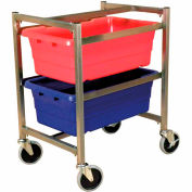 "DC Tech Dual Tote Cart DL101007, Knock Down, Stainless Steel , 24-1/2""L x 18-1/4""W x 31""H"
