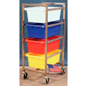 """DC Tech Quad Tote Cart DL101045, Knock Down, Stainless Steel,25-1/2""""L x 18-3/8""""W x 52-1/2""""H, No Tote"""