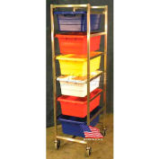 "DC Tech Six Tote Cart DL101046, Knock Down, Stainless Steel,25-1/2""L x 18-3/8""W x 70""H, No Totes"