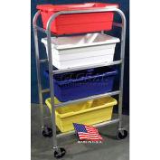 "DC Tech Quad Tote Cart DL102008, Fully Welded, Aluminum , 28-1/2""L x 15-1/4""W x 52-1/2""H"