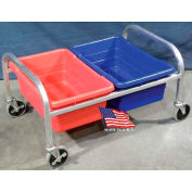 "DC Tech Side by Side Dual Tote Cart DL102042, Fully Welded, Aluminum , 34""L x 24""W x 20""H"