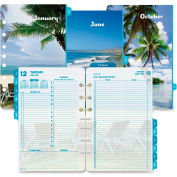 "Day-Timer® Coastlines 2 Pages Per Day Daily Refill 8-1/2"" x 6"" x 1-3/4"" White"