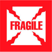"Fragile 2-1/2"" x 2""-1/2 - White / Red"