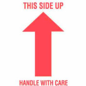 "This Side Up Handle With Care 3"" x 5"" - White / Red"
