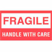 """Fragile Handle With Care 3"""" x 5"""" - White / Red"""